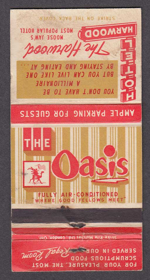 Image for The Oasis Hotel Harwood Moose Jaw Saskatchewan Canada matchcover