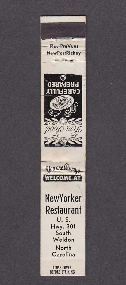 """Image for New Yorker Restaurant South Weldon NC 4 1/2"""" x 3/4"""" matchcover"""