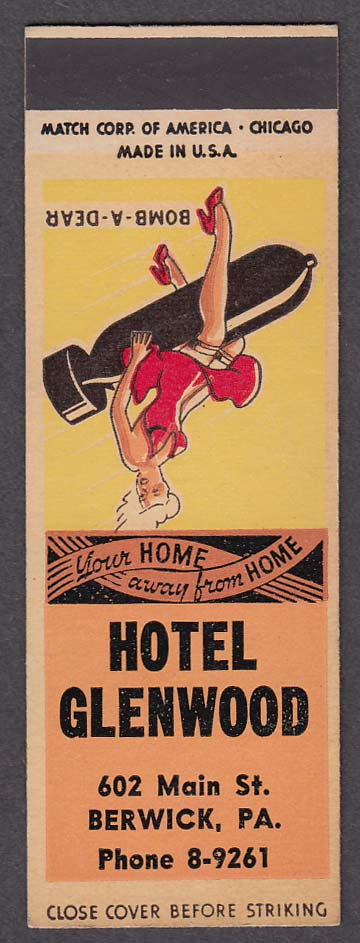 Image for Hotel Glenwood 602 Main St Berwick PA pin-up matchcover proof