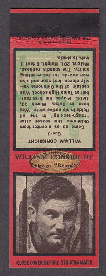 Image for Chicago Bears Guard William Conkright matchcover