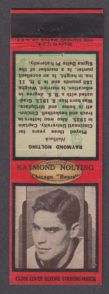 Image for Chicago Bears Halfback Raymond Nolting matchcover
