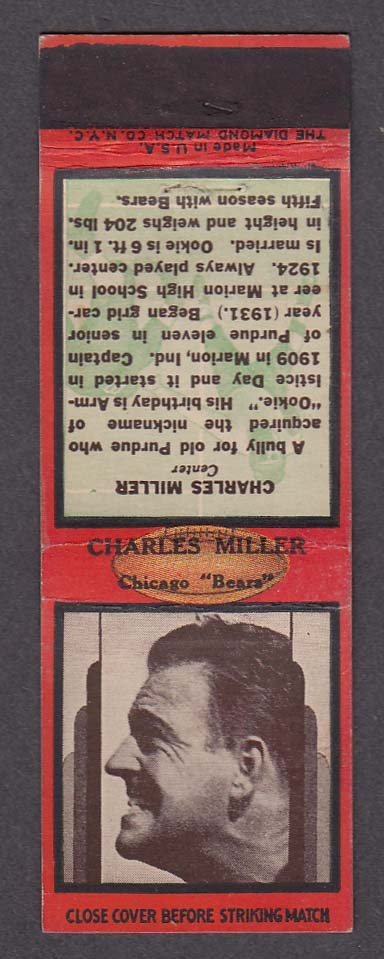 Image for Chicago Bears Center Charles Miller matchcover