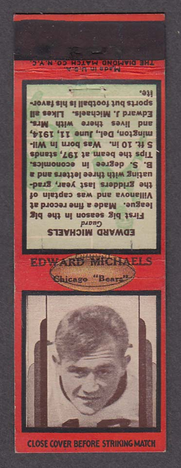 Image for Chicago Bears Guard Edward Michaels matchcover