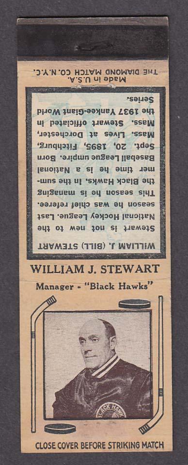 Image for Chicago Black Hawks Manager William J Stewart matchcover