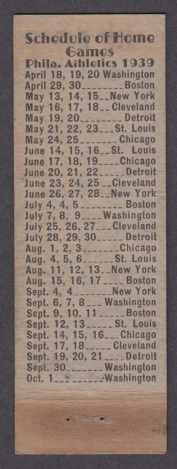 Philadelphia Athletics American League Baseball Club 1939 schedule matchcover