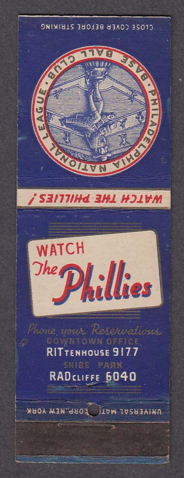 Philadelphia National League Baseball Club Phillies 1939 schedule matchcover