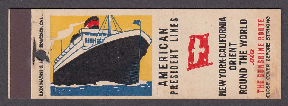 Image for American President Lines New York-California Orient Sunshine Route matchcover