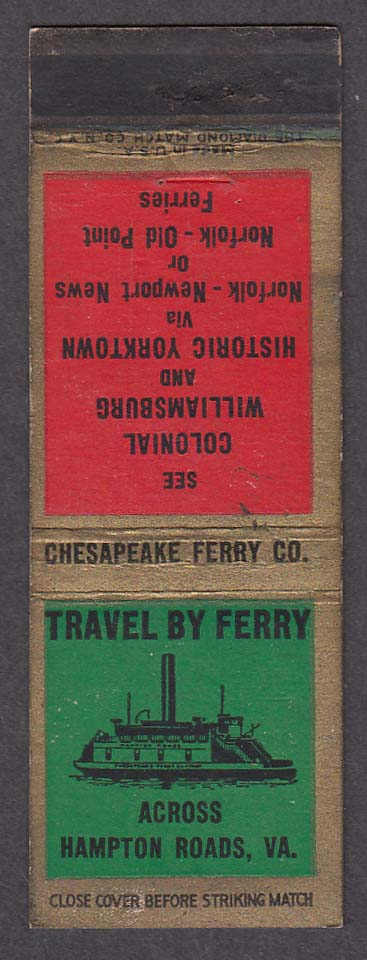 Image for Chesapeake Ferry Co Hampton Roads VA matchcover