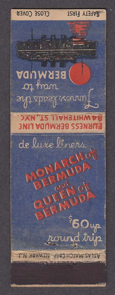 Image for Monarch of Bermuda & Queen of Bermuda Furness Line matchcover