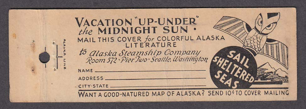 Image for The Alaska Line Seattle matchcover