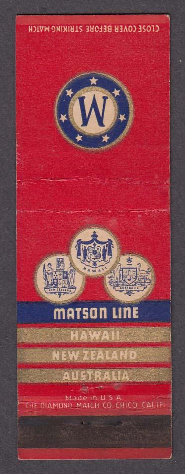 Image for Matson Line Hawaii-New Zealand-Australia matchcover