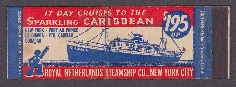 Image for Royal Netherlands Steamship Co New York Sparking Caribbean Cruises matchcover
