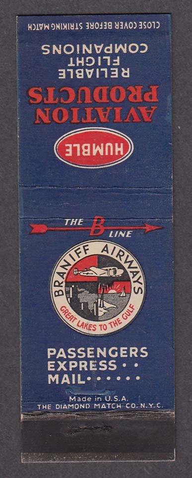Image for Braniff Airways Humble Aviation Products matchcover