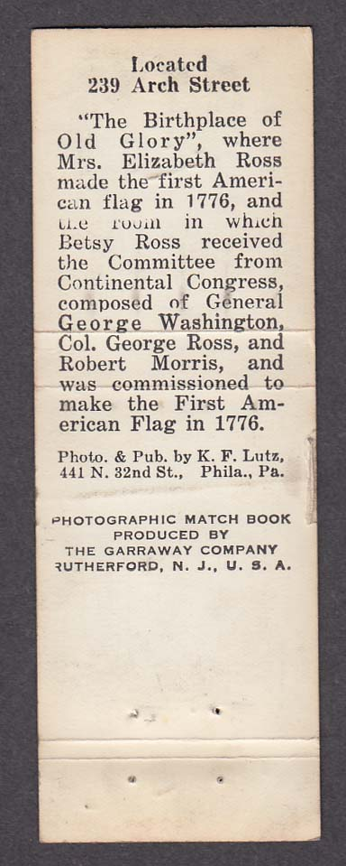 Image for Betsy Ross House 239 Arch Street Philadelphia PA real photo souvenir matchcover