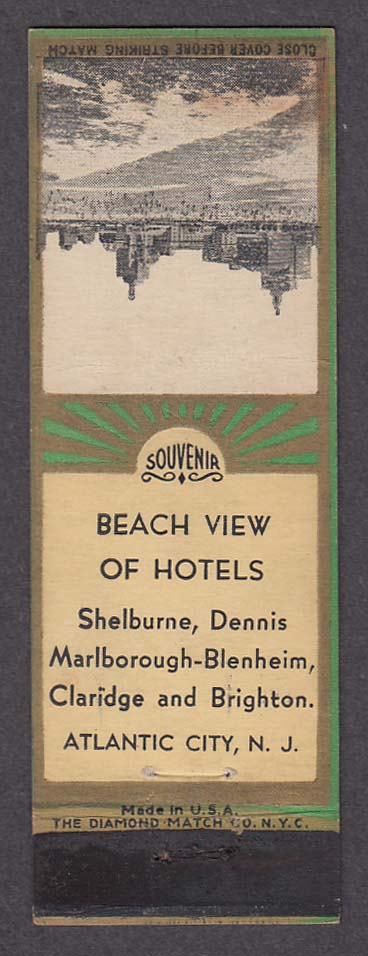 Image for Shelburne Dennis Marlborough-Blenheim Claridge Brighton Atlantic City matchcover