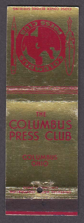 Image for The Columbus Press Club Columbus OH gold & red matchcover