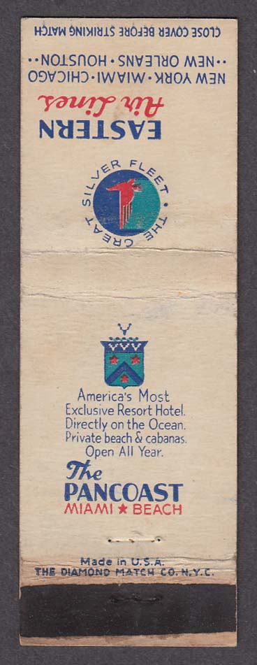 Image for The Pancoast Miami Beach FL Eastern Air Lines matchcover