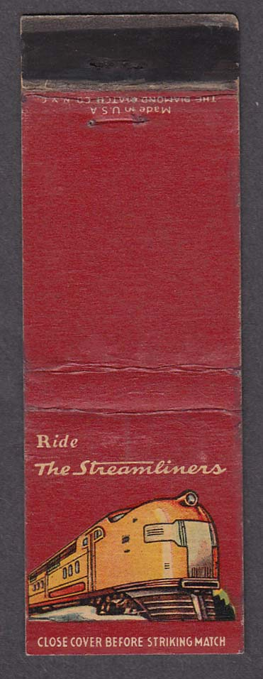 Image for Ride the Streamliners Union Pacific RR railroad matchcover