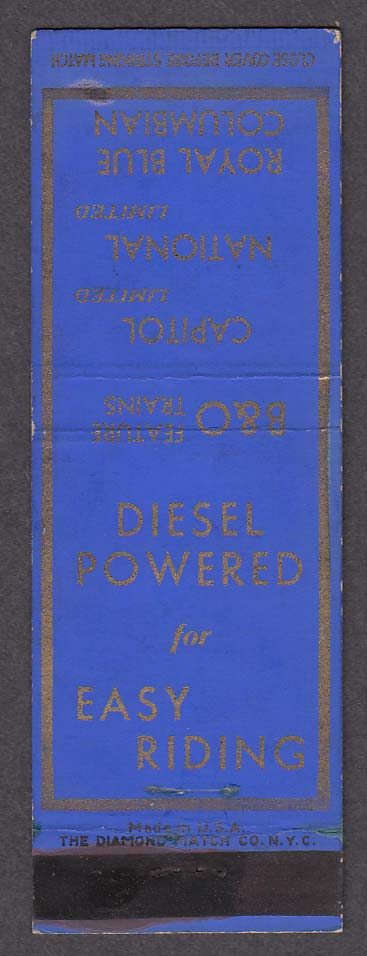 Image for B&O Royal Blue Columbian Diesel Powered Railroad matchcover