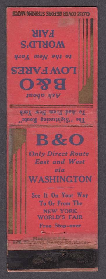 Image for B&O Baltimore & Ohio Railroad New York World's Fair matchcover