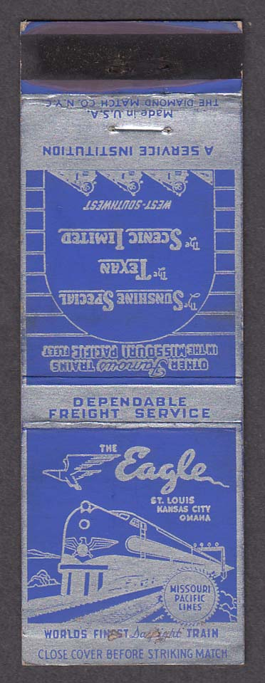 Image for The Eagle Sunshine Special Texan Scenic Limited Missouri Pacific RR matchcover