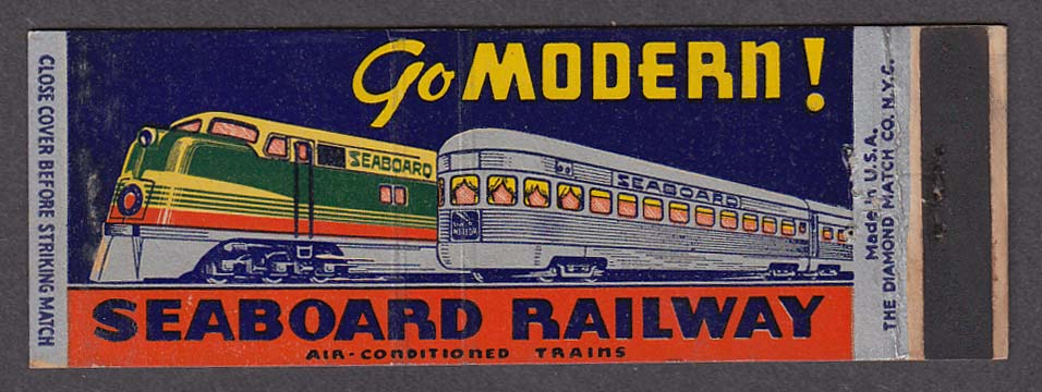 Image for Go Modern! Seaboard Railway Air-Conditioned Trains matchcover