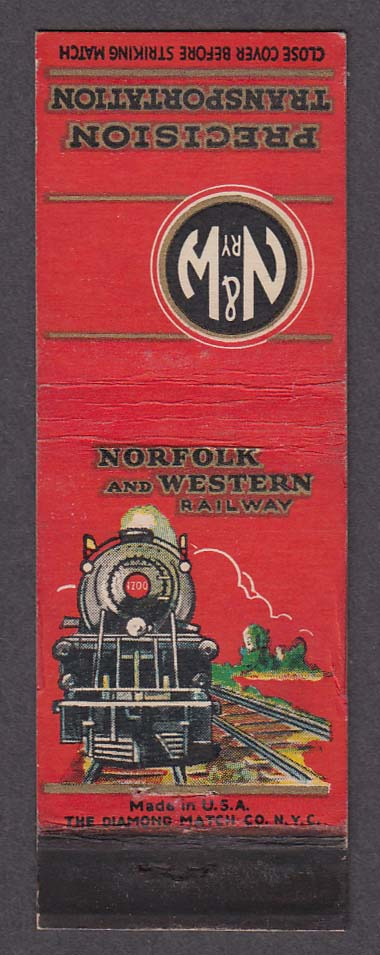 Image for N&W RY Norfolk & Western Railway Precision Transportation route map matchcover