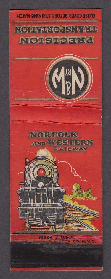 Image for N&W RY Norfolk & Western Railway Precision Transportation matchcover