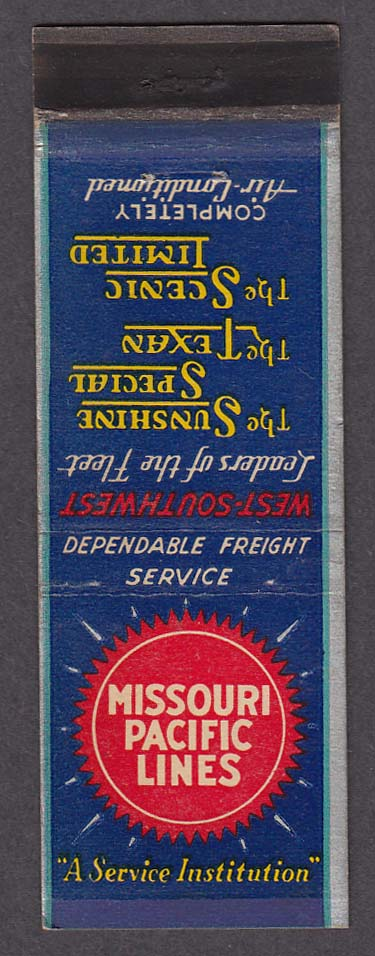 Image for Missouri Pacific Lines Sunshine Special Texan Scenic Limited matchcover