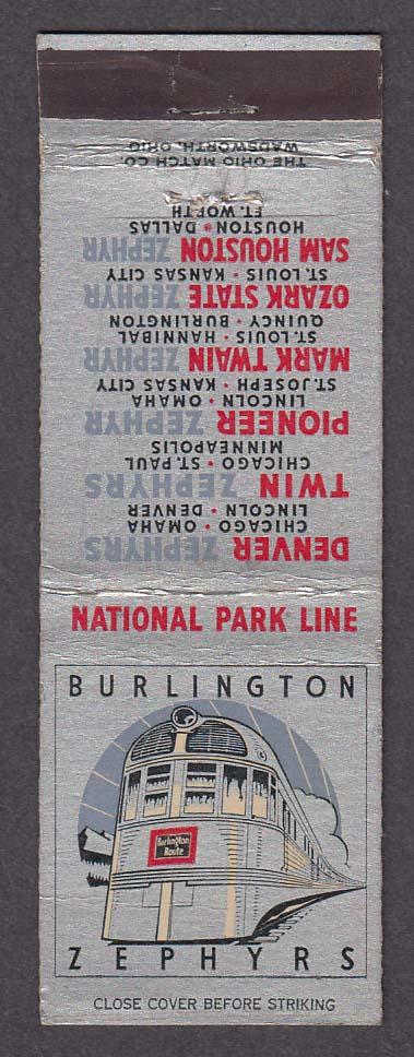 Image for Burlington Zephyrs National Park Line gray matchcover