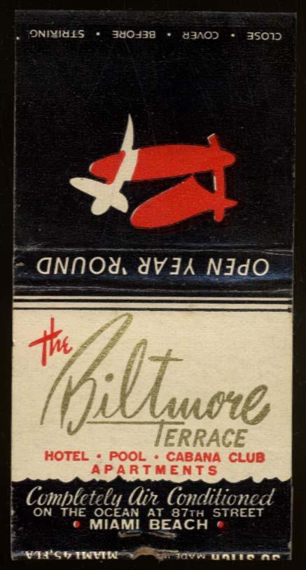 The Biltmore Terrace Hotel Miami Beach FL matchbook
