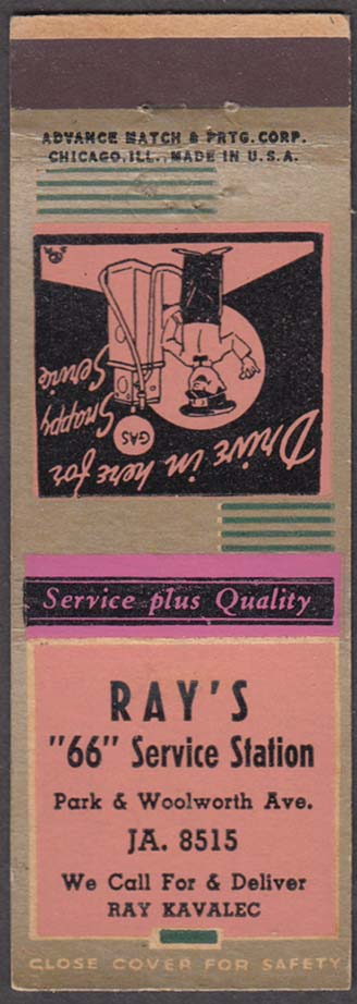 Ray's 66 Service Station Park & Woolworth matchcover Ray Kavalec