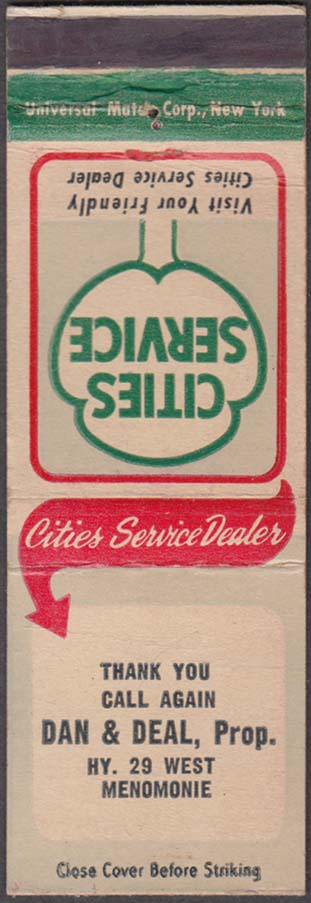 Cities Service Dealer Dan & Deal West Menomonie matchcover