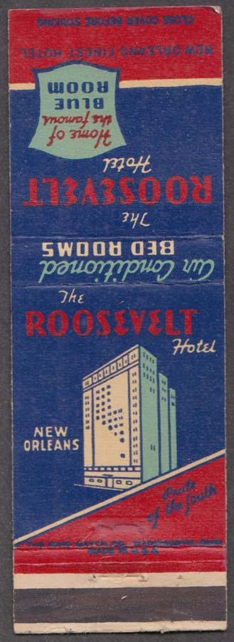 Roosevelt Hotel Blue Room Fountain Lounge New Orleans LA matchcover