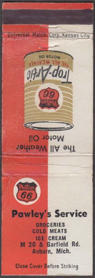 Phillips 66 Trop-Artic Motor Oil Pawley's Service Auburn MI matchcover