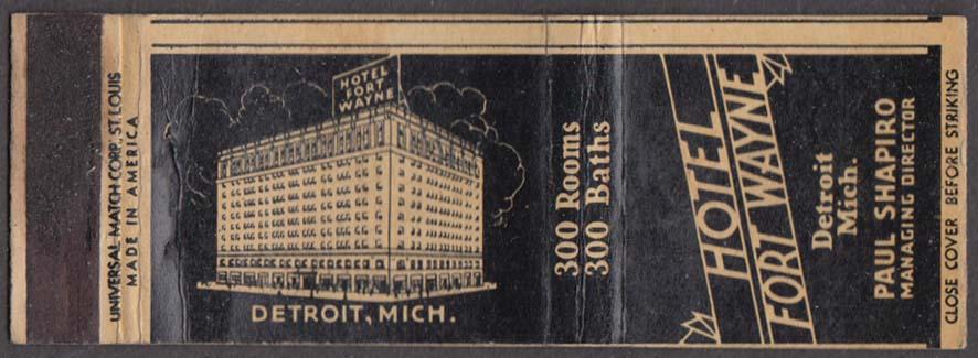 Hotel Fort Wayne Detroit MI matchcover Paul Shapiro
