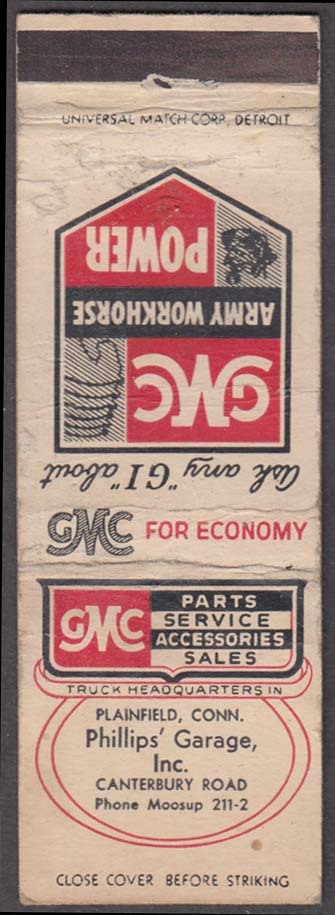 GMC Army Workhorse Power Phillips Garage Inc Plainfield CT matchcover