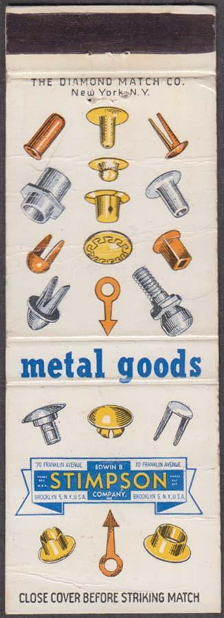 Edwin B Stimpson Metal Goods Company 70 Franklin Brooklyn NY matchcover