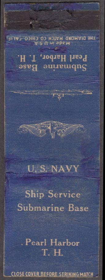 US Navy Submarine Base Pearl Harbor Hawaii matchcover