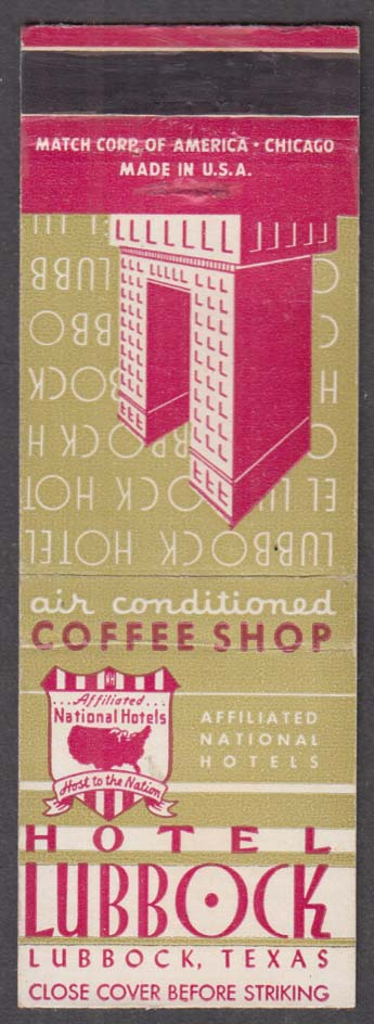 Hotel Lubbock Air Conditioned Coffee Shop Lubbock TX matchcover