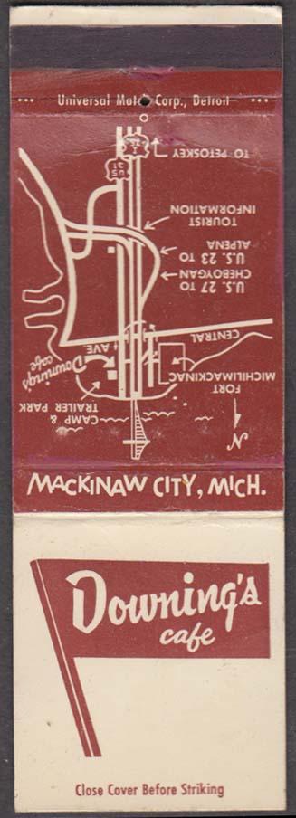 Downing's Café Mackinaw City MI matchcover