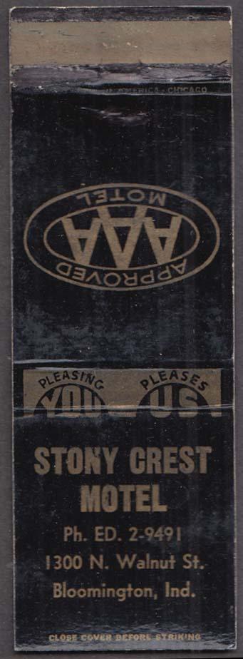 Stony Crest Motel 1300 N Walnut St Bloomington IN matchcover