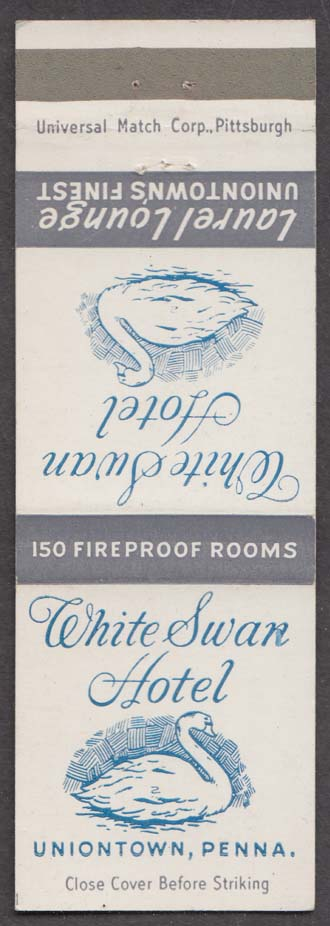 White Swan Hotel Laurel Lounge Uniontown PA matchcover