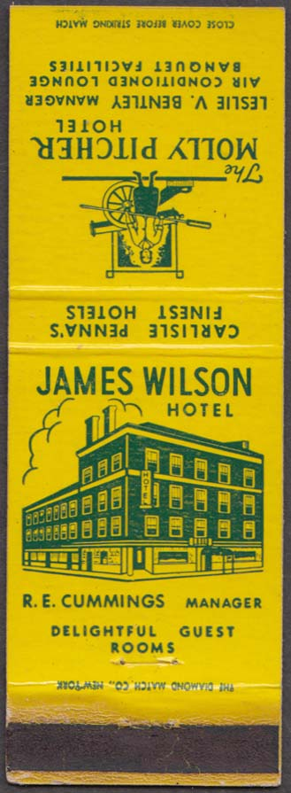 James Wilson & Molly Pitcher Hotel Carlisle PA matchcover