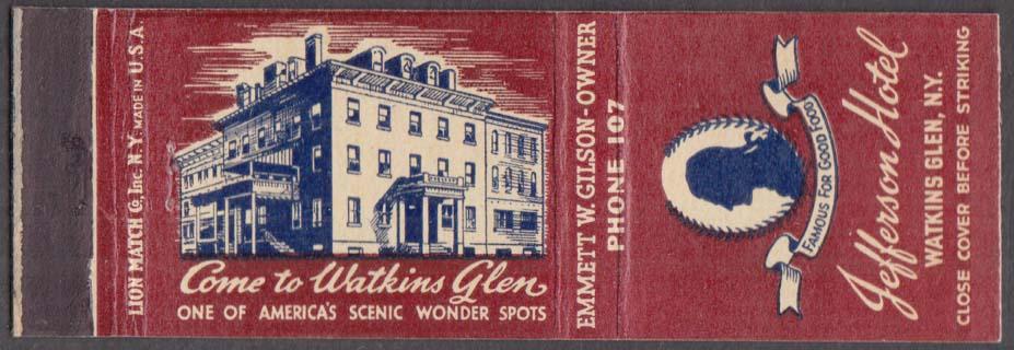 Jefferson Hotel Watkins Glen NY matchcover