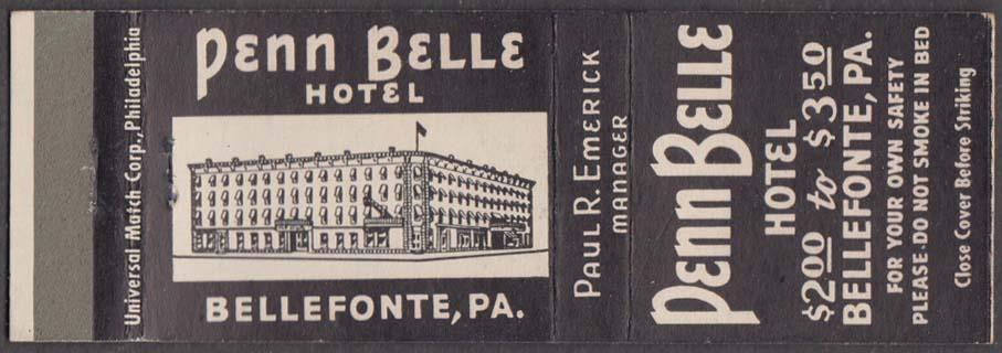 Penn Belle Hotel Bellefonte PA matchcover Paul R Emerick
