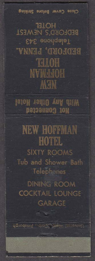 New Hoffman Hotel Bedford PA matchcover