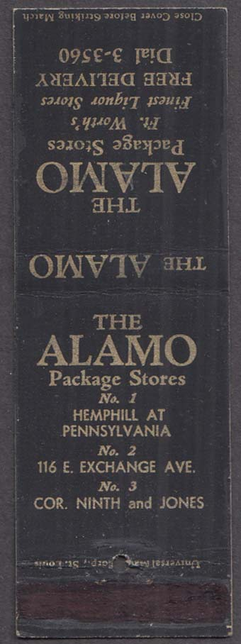 The Alamo Package Stores Fort Worth TX matchcover