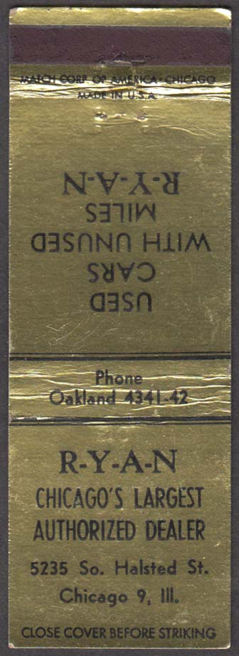 RYAN Used Car Dealer 5235 So Halsted St Chicago IL matchcover