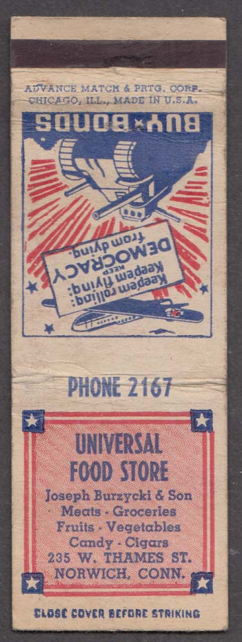 Universal Food Store 235 W Thames St Norwich CT matchcover Buy Bonds